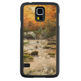 The beautiful waterfall in forest, autumn carved maple galaxy s5 case