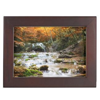 The beautiful waterfall in forest, autumn keepsake box