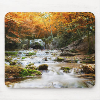 The beautiful waterfall in forest, autumn mouse mat