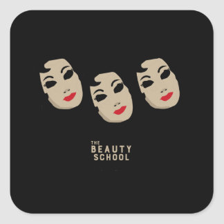 The Beauty School Square Stickers - Black