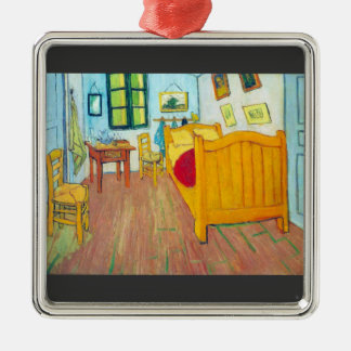 The bedroom in Arles. Saint-Remy by Van Gogh Silver-Colored Square Decoration