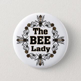 the bee lady 6 cm round badge