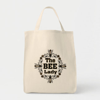the bee lady grocery tote bag