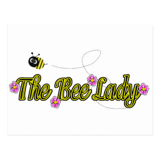 the bee lady with flowers postcard