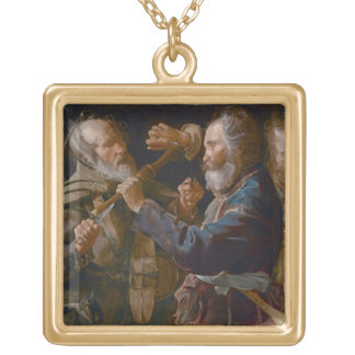 The Beggars' Brawl, c.1625-30 (oil on canvas) Gold Plated Necklace