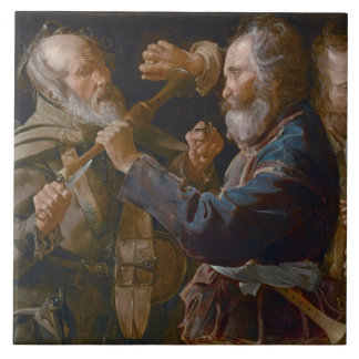 The Beggars' Brawl, c.1625-30 (oil on canvas) Large Square Tile