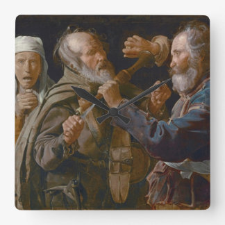 The Beggars' Brawl, c.1625-30 (oil on canvas) Square Wall Clock