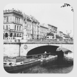 The Belle-Alliance Bridge, Berlin, c.1910 Square Sticker