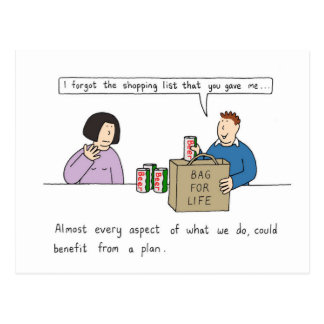 The benefits of planning ahead. postcard