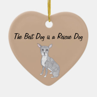 The Best Dog is a Rescue Dog Ceramic Heart Decoration