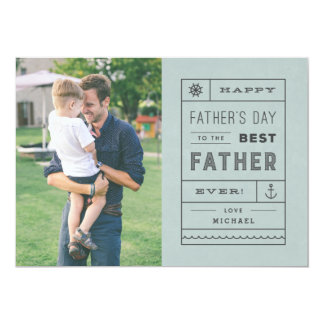 """The Best Father Father's Day Card - Dusty Blue 5"""" X 7"""" Invitation Card"""