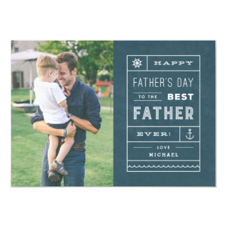 """The Best Father Father's Day Card - Navy 5"""" X 7"""" Invitation Card"""