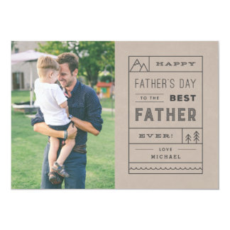 """The Best Father Father's Day Card - Tan 5"""" X 7"""" Invitation Card"""