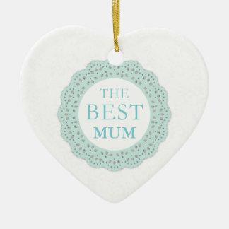 The Best Heart Ornament - Floral Lace - Mum/Nan