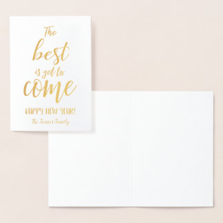The Best Is Yet To Come Gold Foil Monogram Foil Card