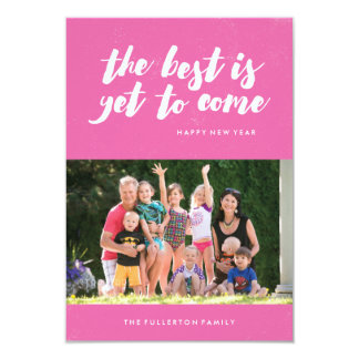 The Best Is Yet to Come New Year's Card - Magenta 9 Cm X 13 Cm Invitation Card