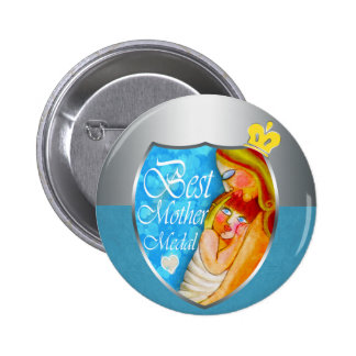 The Best Mother trophy 6 Cm Round Badge