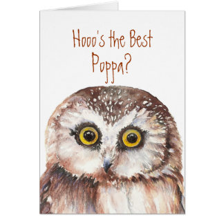 The Best Poppa Father with Wise Owl Humor Card