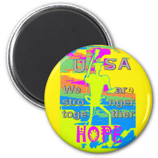 The Best USA Hope  Hillary Stronger Together 6 Cm Round Magnet