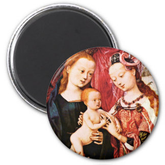 The Betrothal Of St. Agnes By Meister Des Bartholo 6 Cm Round Magnet