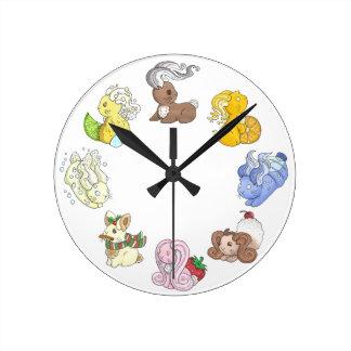 The Beverage Bunnies Round Clock