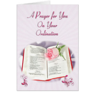 The Bible and rose prayer for Ordination Card