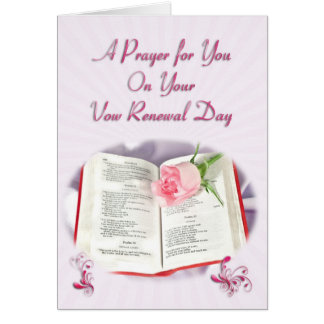 The Bible and rose prayer for vow renewal day Card