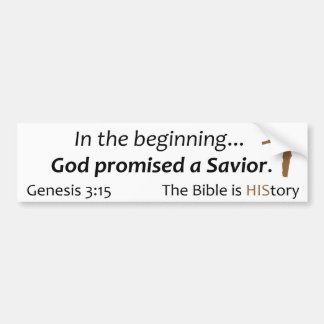 The Bible is History - Scripture, Cross, brown Bumper Sticker