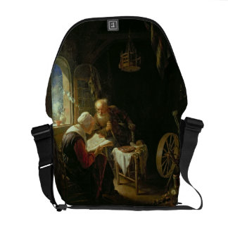 The Bible Lesson, or Anne and Tobias (oil on panel Messenger Bag