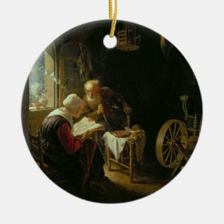 The Bible Lesson, or Anne and Tobias (oil on panel Round Ceramic Decoration
