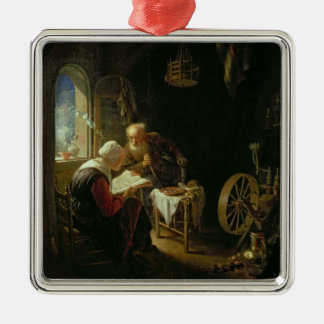 The Bible Lesson, or Anne and Tobias (oil on panel Silver-Colored Square Decoration