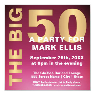 The BIG 50 GOLD EFFECT | BIRTHDAY PARTY Card