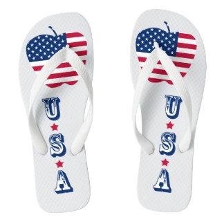 The Big Apple America flag NYC Flip Flops