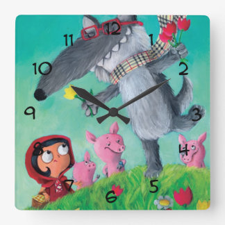 The Big Bad Wolf Square Wall Clock