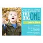 The Big One - Blue Birthday Invitation