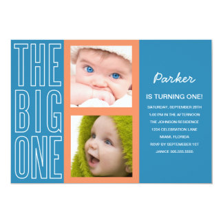 THE BIG ONE IN BLUE| FIRST BIRTHDAY INVITATION