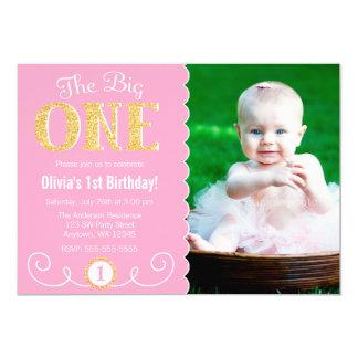 The Big One Pink Gold 1st Birthday Photo 13 Cm X 18 Cm Invitation Card