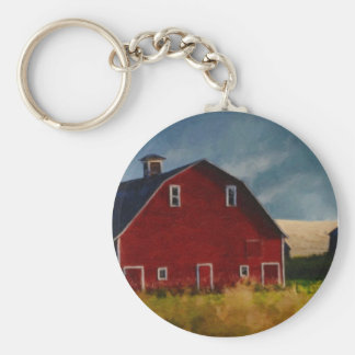 The Big Red Barn Basic Round Button Key Ring