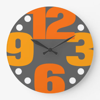 The Big Time - orange Large Clock