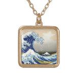 The big wave off Kanagawa Katsushika Hokusai Square Pendant Necklace