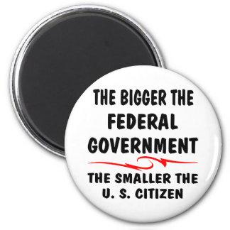 The Bigger Fed Gov The Smaller The US Citizen 6 Cm Round Magnet