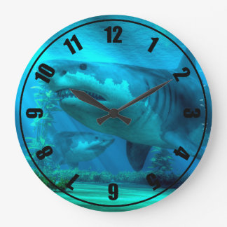 The Biggest Shark Large Clock
