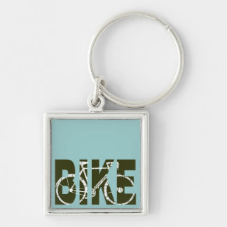 the bike. cycle . cycling Silver-Colored square key ring