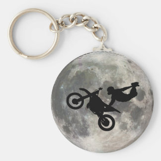 The Bike Jumped Over The Moon Basic Round Button Key Ring