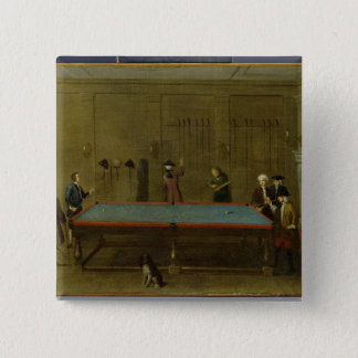 The Billiard Room (oil on canvas) 15 Cm Square Badge
