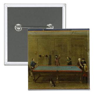 The Billiard Room (oil on canvas) 15 Cm Square Badge