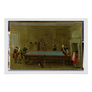 The Billiard Room (oil on canvas) Poster