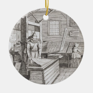 The bindery of Laurens Janszoon Koster, engraved b Round Ceramic Decoration