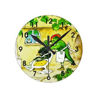 The Bird Barber Round Clock