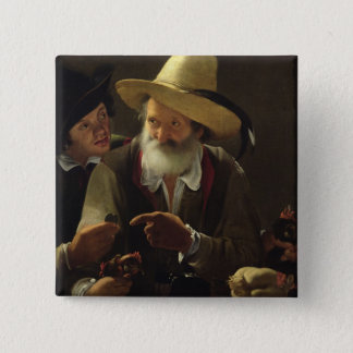 The Bird Seller (oil on canvas) 15 Cm Square Badge
